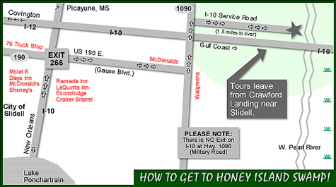 Honey Island Swamp Tours map